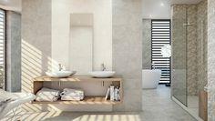 beige Wandfliesen moderne Muster Waschtisch Holz