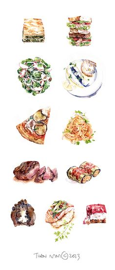 I'd love to work on a restaurant menu project, but figured that I should have some food in my portfolio, so I took a stab at studying food in watercolour. Funnest, hungriest week of my life.