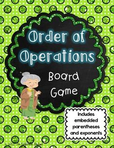 "My Dear Aunt Sally can't remember the way home and needs help getting to her house!  Students must answer the questions correctly and follow the order or operations to help Aunt Sally get home safely.  Have fun practicing the order of operations with this silly board game, complete with ""My Dear Aunt Sally"" printable game board, game pieces and 72 question cards with answers.Question cards are two sided so players can practice the order of operations and check their answers!"