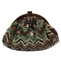 Moyna : Pouch clutch with zigzag sequin and beadwork