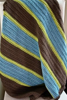 Rugby Stripes Blanket Crochet Pattern by SometimesCrafter on Etsy