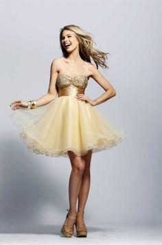 Tu Vestido de 15 Años: Vestidos de 15 Años Color Dorado Corto