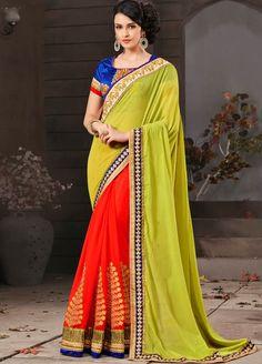 Green and Orange Colour #Georgette #Partywear & #Wedding #Saree.
