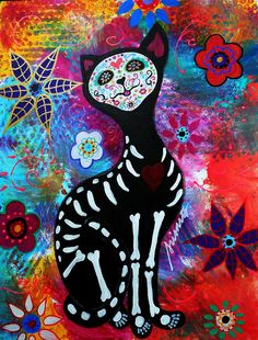 day+of+the+dead+art | El Gato II Day Of The Dead Painting