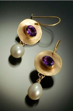 Gold & Amethyst & Pearl Earrings gold earrings with bezel set amethyst and c. - Gold & Amethyst & Pearl Earrings gold earrings with bezel set amethyst and cultured freshwater - Pearl Jewelry, Bridal Jewelry, Jewelry Gifts, Silver Jewelry, Jewelry Accessories, Fine Jewelry, 925 Silver, Jewellery Box, Sterling Silver
