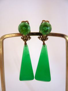 Green Lucite Dangle Earrings 1960's
