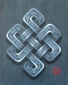 Noeud infini argent, symbole bouddhiste. Peinture acrylique