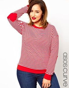 ASOS CURVE Exclusive Top In Stripe With Heart Elbow Patch
