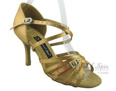 Natural Spin Signature Latin Shoes(Open Toe):  H1137-02_GoldES