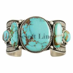 Sterling Silver Turquoise 5 Stone Bracelet Navajo Guy Hoskie in Jewelry & Watches, Ethnic, Regional & Tribal, Native American | eBay