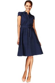 Pure Cotton Broderie Belted Shirt Dress - Marks & Spencer