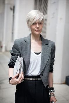 great look.  Women over fifty letting their grey hair down. White hair on an older woman is like platinum. Blonde on a younger woman