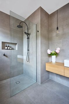 The inclusion of a large frameless open shower in our bathroom adds . The inclusion of a large frameless open shower in our bathroom adds . - ideas for bathroom renovation . Bathroom Layout, Modern Bathroom Design, Bathroom Interior Design, Bathroom Ideas, Bathroom Hacks, Bathroom Inspo, Bathroom Cleaning, Bathroom Colors, Bathroom Renos