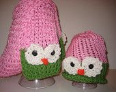 Scarf and Hat Childs, Knit, Green, Pink, White, Orange, Light Weight, Fall, Winter and Spring - Owl Pink Green