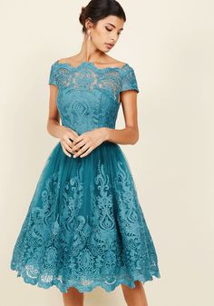 Chi Chi London Exquisite Elegance Lace Dress in Lake, #ModCloth