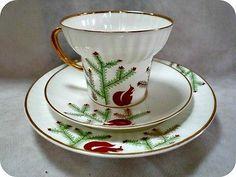 Lomonosov Coffee set Squirrel Russian Bone China Porcelain USSR 1980's