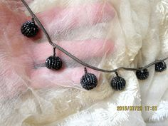 DELICATE ANTIQUE VICTORIAN HDMD TINY FACETED PEWTER GLASS BEADED DANGLE TRIM FRG