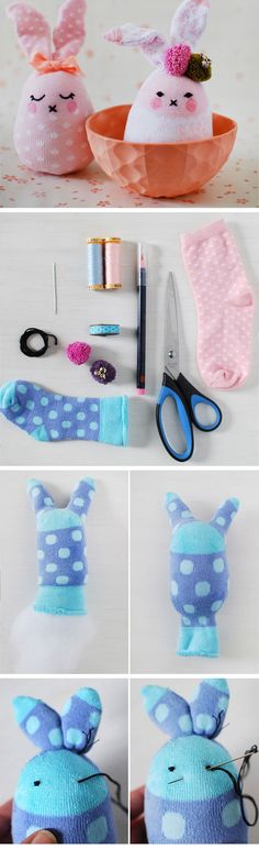 Easter Bunny Softies From Socks | DIY Easter Decor Ideas for the Home | Easy Easter Decorations for Kids