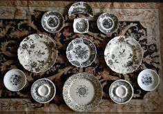 ... English Black Transferware Plates - Instant Wall Display Collection