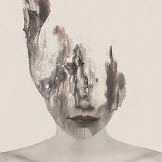 Janus Miralles  Portraits abstraits mélangeant photographie et peinture Fubiz