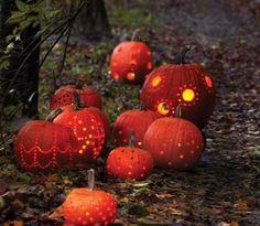 Jack-'o-lanterns on path, lit carved pumpkins