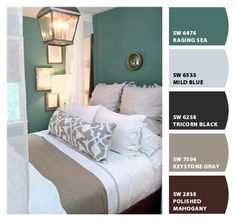 Neutral bedding tones and teal walls.-I like the wall Color. Invest in neutral bedding and then change the wall Color and accessories for an inexpensive way to update the room. Home Bedroom, Bedroom Decor, Master Bedroom, Bedroom Colors, Bedroom Ideas, Design Bedroom, Nursery Colours, Cottage Bedrooms, Canopy Design