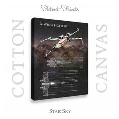 Star Wars X Wing Patent professionally printed on museum quality cotton canvas. X Wing canvas is available in various sizes and background colors. Fraternity Rush Shirts, Star Wars Tee Shirts, X Wing Fighter, Star Wars Prints, Linden Wood, Star Wars Poster, Star Sky, Patent Prints, Personalized T Shirts