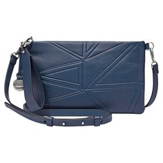 Women's Skagen Small Leather Crossbody Clutch (5.265 RUB) ❤ liked on Polyvore featuring bags, handbags, clutches, leather crossbody handbags, leather handbags, leather crossbody, blue crossbody and blue purse