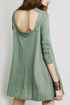 Long Sleeve Hollow Back Green Dress