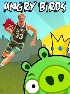 Angry Birds with Larry Bird for 3-point domination against the swine menace...