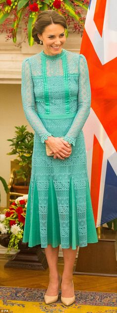Catherine, Duchess of Cambridge attends a meeting with Prime Minister of India Narenda Modi in Hyderabad House on April 12, 2016 in New Dehli, India.