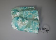 Turquoise eyeglass case - aqua blue taupe beige - felt lined quilted sunglass eye glass case - coworker gift - home office desk accessory by ExpressionQuilts on Etsy