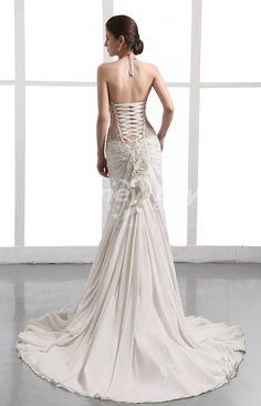backless wedding dresses | Chiffon Halter Backless Wedding Dresses With Color