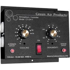 "Green Air Thermostat & Dehumidistat is designed to turn ""On"" exhaust and/or intake fans to remove excess or unwanted heat and humidity. Hydroponic Supplies, Greenhouse Supplies, Home Thermostat, Wooden Greenhouses, Water Conservation, Heating And Cooling, Air Purifier, Outlets, Backyard Landscaping"