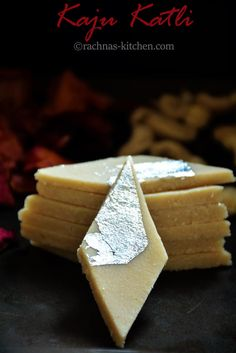Learn step by step traditional kaju katli with tips and tricks. Make perfect kaju katli at home with few ingredients.Vegan and gluten-free kaju katli recipe Indian Dessert Recipes, Indian Sweets, Sweets Recipes, Cooking Recipes, Indian Recipes, Diwali Recipes, Pakistani Recipes, Burfi Recipe, Jamun Recipe
