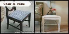 Upcycle an old broken chair into a stylish side table.  The Happier Homemaker