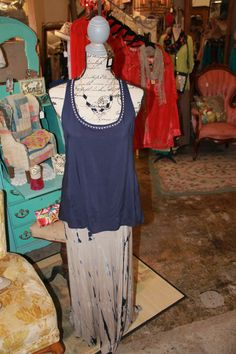 Blue tank top $28 S/M/L  tie dye skirt $32 S/M/L