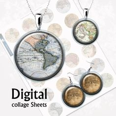 Vintage Maps Bottlecap Digital Collage Sheet  15 от MyMidnightMoon