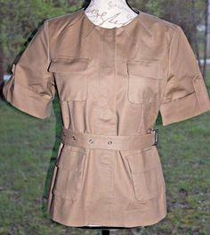 Michael Kors Camel Snap Button Front Khaki Brown Belted Camp Top Size 8 Cute! #MichaelKors #ButtonDownShirt