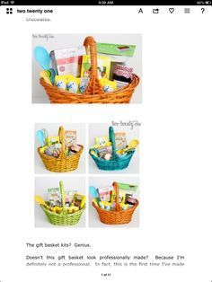 Easter basket gift- chocolates, cake mix, utensils ( spoon, measuring cups), jam...