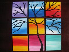yellow pink blue tree of life art painting 9 by SmallPaintingArt, $45.00 / This painting is cheerful