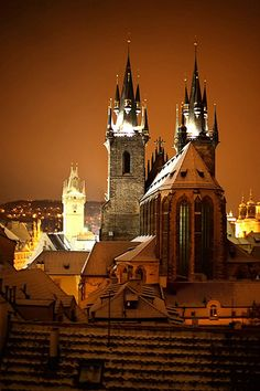 The church of Our Lady In Front of Týn and Old Town Hall, Prague, Czechia
