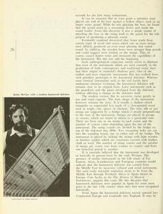 "The Ohio University Alumnus Magazine, March 1975. James McGaw with a modern hammered dulcimer"""