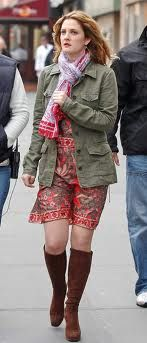 drew barrymore in music and lyrics - hair, dress, boots, jacket and scarf, all awesome!