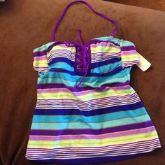 NWT striped candies halterkini bathing suit top Brand new candies halterkini bathing suit bikini top size small candies Swim