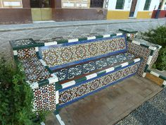 Mosaic tile bench with Moroccan design