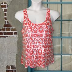 J. Crew Orange and White Sequined Tank Top Wear some pizazz! Orange and white patterned tank top has a racer back. 100% cotton (except for the clear sequins in front). Soft and in good condition. J. Crew Tops Tank Tops