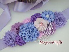 Items similar to Irish Lilac Vintage Belly Maternity Sash. on Etsy - Irish Lilac Vintage Belly Maternity Sash. Bridal by MeejannCrafts - Baby Shower Color Lila, Lilac Baby Shower, Baby Shower Sash, Mermaid Baby Showers, Baby Mermaid, Baby Shower Party Favors, Baby Shower Balloons, Baby Shower Gifts, Fabric Flower Tutorial