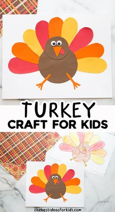 Crafts For Kids To Make, Crafts For Girls, Easy Diy Crafts, Creative Crafts, Kids Crafts, Art For Kids, Autumn Activities For Kids, Thanksgiving Crafts For Kids, Turkey Template