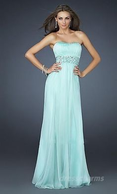 Empire Chiffon Strapless Long Dress Charm89303